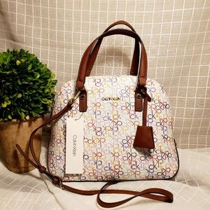 Calvin Klein Dome Ronda Monogram Satchel Bag
